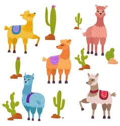 set of cute cartoon lamas characters with vector image