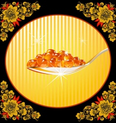 spoon with red caviar frame vector image vector image