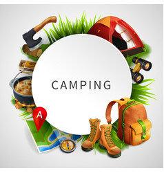 camping colored composition vector image vector image