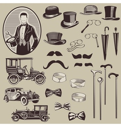 Gentlemens accessories and old cars vector