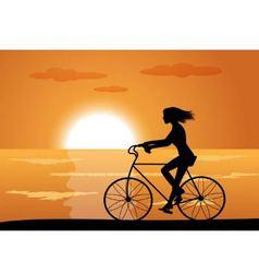 girl on bike vector image vector image