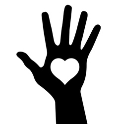 hand with heart vector image vector image