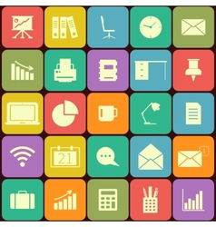 Office and business Flat icons for Web and Mobile vector image
