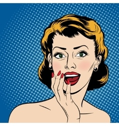 surprised woman in the pop art comics style vector image vector image