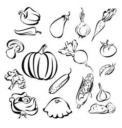 vegetables icon set sketch vector image