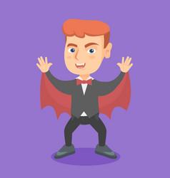 boy wearing a vampire costume on halloween vector image