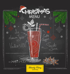 chalk drawing christmas menu cocktail design vector image vector image