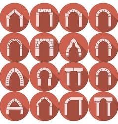 Flat icons collection of arch silhouette vector image