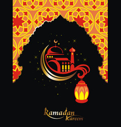 islamic design mosque door for greeting background vector image