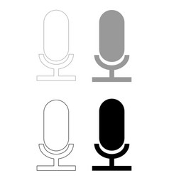 microphone the black and grey color set icon vector image vector image