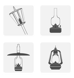 monochrome icon set with kerosene lamps vector image vector image