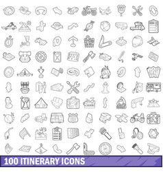100 itinerary icons set outline style vector image vector image