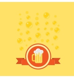 Beer badge with a bubbles on background vector image vector image