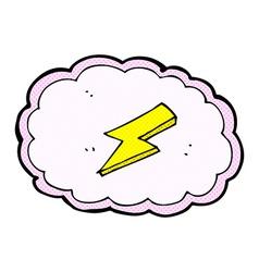 Comic cartoon cloud and lightning bolt symbol vector