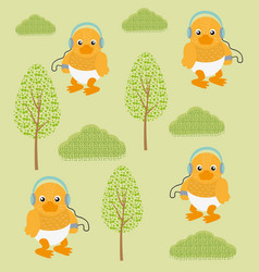funny ducks in forest vector image