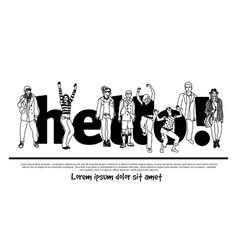hello team group people isolate sign black and vector image vector image
