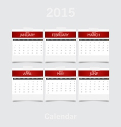 Simple 2015 year calendar January February March vector image vector image