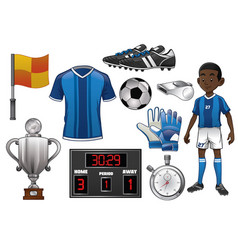 soccer object set vector image