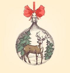 vintage christmas ball deer and pine trees vector image vector image
