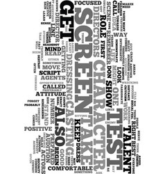 your first screen test text word cloud concept vector image vector image