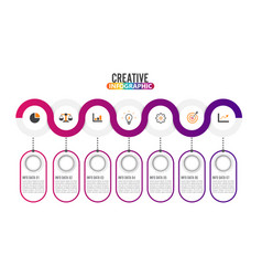 7 parts infographic design and marketing icons vector image