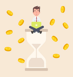 A businessman sits on an hourglass and earns money vector