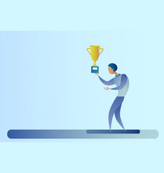 Abstract business man hold prize winner cup vector