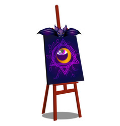 an easel with a terrible drawing of an open eye vector image