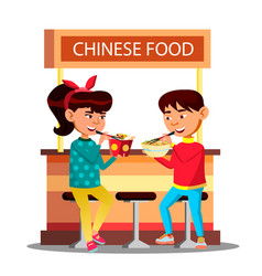 asian kids boy and girl eating with chopsticks vector image