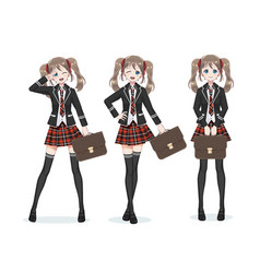 beautiful anime manga schoolgirl in skirt vector image