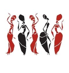 Beautiful dancers silhouette vector