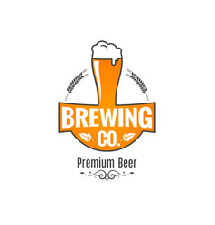 Beer glass logo brewing label on white background vector