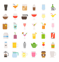 beverage and glass set flat icon vector image