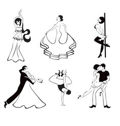 Black and White Dancing Girls vector