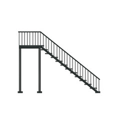 Black iron staircase with railing architectural vector