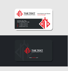 Blackish business card with red castle vector