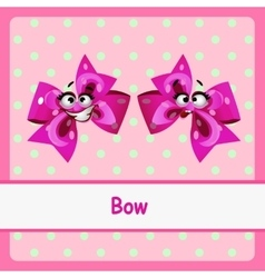 Bow funny characters on a pink background vector
