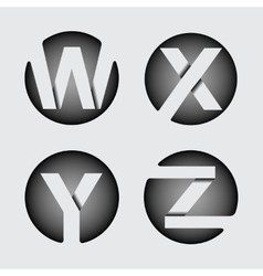 Capital letter W X Y Z of wide white stripes vector