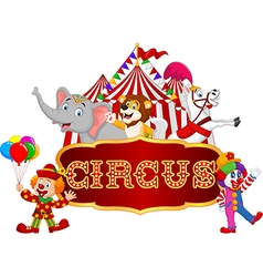 Cartoon animal circus and clown with carnival vector