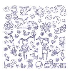 children dreams hand drawn vector image