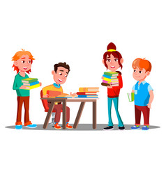 children reading books together in library vector image