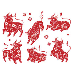 chinese new year 2021 ox red paper vector image