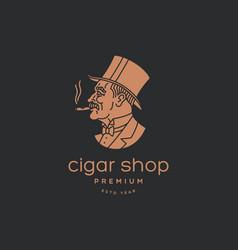 Cigar man logo vector