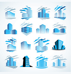 city buildings business financial office design vector image