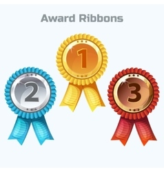 Colorful Award Ribbons gold silver and bronze vector