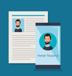 Curriculum vitae with smartphone vector