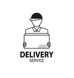 delivery icon concept delivery man service vector image