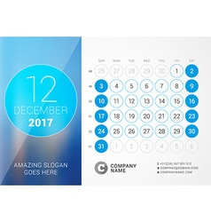 Desk Calendar for 2017 Year December Design Print vector