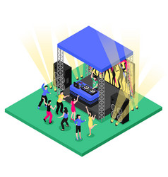 Dj music isometric composition vector