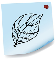 drawing of leaves on sticky paper vector image